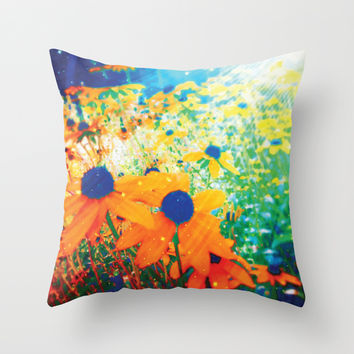 Flowers in the Sun Throw Pillow by NisseDesigns