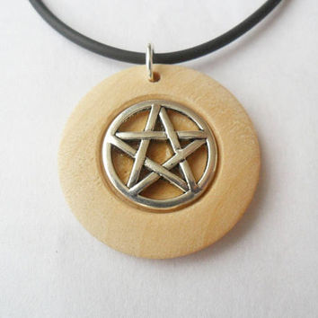 "Pentagram pendant necklace, set in a wooden disc with adjustable cord necklace from 17""inch to 19""inch."