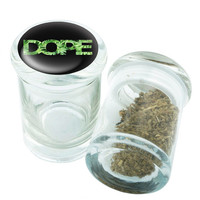 Stash Jar - Glass Pop Top - Dope Design - Storage Container -  Custom Herb Grinder Secret Stash Box - Stay Fresh Herbs 1/6 oz.