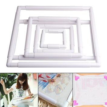 Handhold Square Shape Embroidery Plastic Frame Hoop Cross Stitch Craft DIY Tool ZHJ