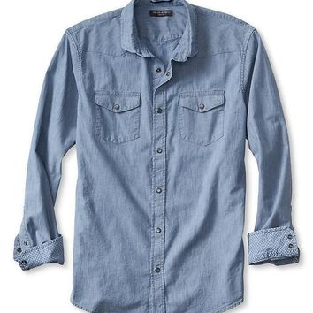 Banana Republic Mens Slim Fit Indigo Denim Western Shirt