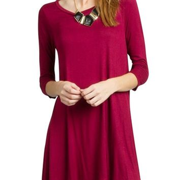 Women Boat Neck 3/4 Sleeve Long Knit Jersey Solid Tunic Dress Top