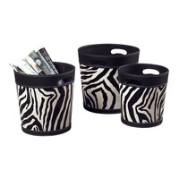 Set Of 3 Zebra Patterned Magazine Holders