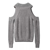 Gray Cutout Shoulder Knitted Sweater