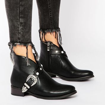 Daisy Street Black Buckle Western Ankle Boots