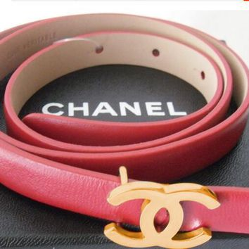 CHANEL Woman Men Fashion Smooth Buckle Leather Belt Red