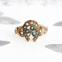 Antique Shamrock Horseshoe Ring, Victorian 10k Rose Gold Turquoise & Pearl Bohemian Bride Bridal Jewelry Love Token Statement Ring