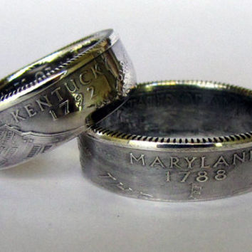 SILVER State Quarter Coin Rings Choose Your State