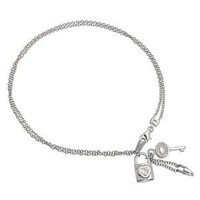 Bling Jewelry Sterling Silver CZ Lock and Key Charms Anklet Ankle Bracelet 10in