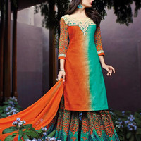Sea Green and Orange Cotton Jacquard Palazzo Style Suit