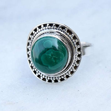 Melachite ring, silver ring, stone ring, silver Melachite ring, 92.5 sterling silver, Melachite Silver Ring,RNSLML207