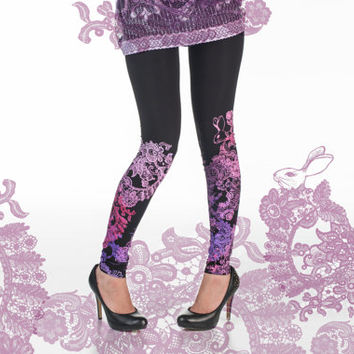 black leggings with pink and lilac lace animal print