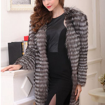 Luxury Fox Fur Feel Coat Fashion desinger brand