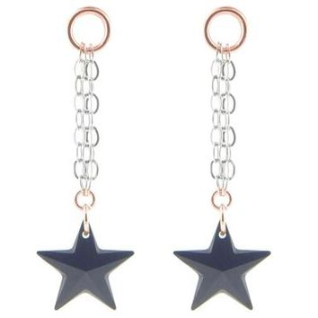 Black Swarovski Crystal Star Earrings