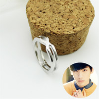 Youpop KPOP VIXX LR Album Double Cross Silver Rings Korean Fashion Jewelry Accessories For Men And Women Boy Girl Ring Z0424
