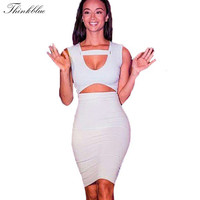 Brand New 2015 Women Dress Sexy Cut Out Club Dresses Night Party Bodycon Dress Sleeveless Cropped Slim Bandage Dress For Women