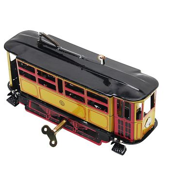 Retro Wind Up Tram Cable Bus Clockwork Street car Toy Vintage Collection Kid