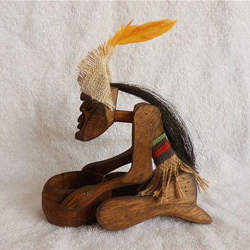 African totem ashtray wood carved crafts men art home office decoration