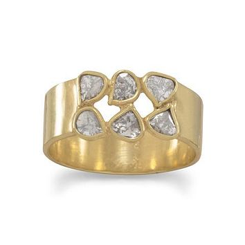14K Yellow Gold Natural Polki Diamond Ring