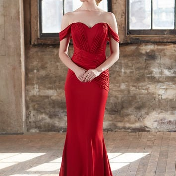 Tinaholy Couture T1716 Red Off Shoulder Pleated Formal Gown Maxi Dress