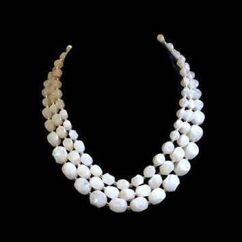 Multi Strand White Lucite Necklace, Bridal Jewelry