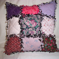 Handmade OoaK DECORATIVE PILLOW Quilted, Sewn in Rag Style, Mulit Colored, Cottage Chic