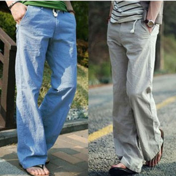 New 2015 Men's Fashion Brands Comfortable Breathable Loose Linen Leisure Trousers / Spring Summer Cotton and Linen Slacks Male