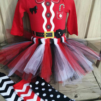 Little Santa Baby Girl Outfit -  5 Piece,  Onesuit,  sewn tutu,  headband, leg warmers -  first Christmas,  photos,  photo prop