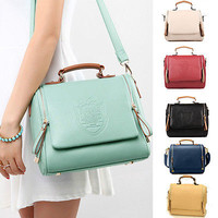 New Womens Vintage UK Crown Shoulder Messenger Tote Satchel Bags Leather Handbag