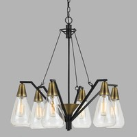 Antique Brass and Glass 6 Light Riley Chandelier