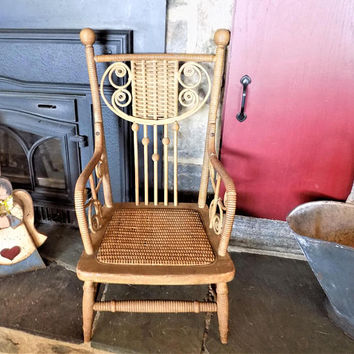 Antique Rattan And Wood Child S Chair Wicker Weave Stick B
