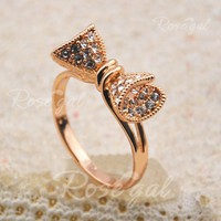 Fashion Brilliant Diamante Solid Bowknot Embellished Alloy Ring For Women
