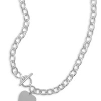 """17"""" Toggle Necklace with Heart Tag"""