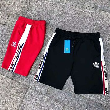 ADIDAS Clover & OFF-WHITE joint model 201818 new men's sports and leisure five pants F-A-BM-YSHY black
