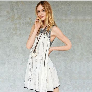 LMFON Free People' Fashion Retro Embroidery Geometric Pattern Sleeveless Mini Dress
