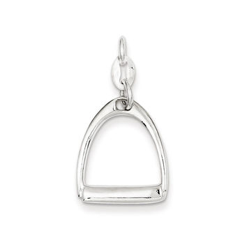 925 Sterling Silver Horse Stirrup Charm Pendant - 30mm