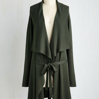 Vintage Inspired Long Long Sleeve Swishin' and Hopin' Cardigan in Basil