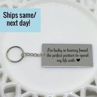 Engraved Couple Keychain, Engraved Keychain, Couple Keychain, Boyfriend Gift, Gift for Him, Anniversary Gift, Gifts Under 20, Gift for Her