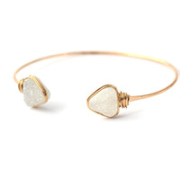 Open Druzy Bangle - Snow White