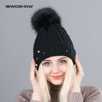 2017 New Twist Imitation Fur Ball Beanie Hat Women Winter Add Velvet Knitted Skullies Femal Pearl Headgear PomPom Caps
