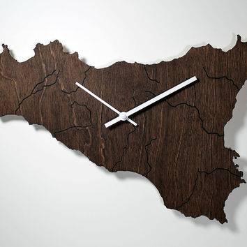 COUNTRY MAP WALL CLOCKS - WOOD