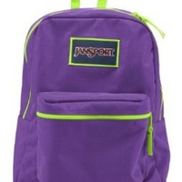 JANSPORT OVEREXPOSED BACKPACK SCHOOL BAG- Purple Night/ Fluorescent Green