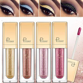 New Make Up Liquid Eyeshadow Waterproof Glitter Pigments Purple Gold Metalic Women Beauty Gel Eye Shadow Cream 18 Colors Makeup