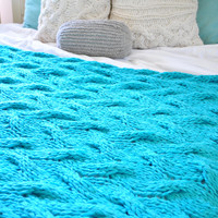 Light Turquoise Chunky Cable Knit Blanket in Cream Irish Wool Throw, Twin, Full Queen, King Bed Size MADE TO ORDER