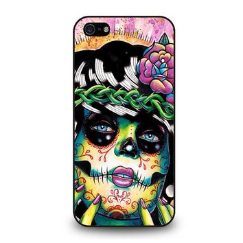 day of the dead skull girl iphone 5 5s se case cover  number 1
