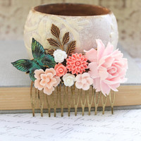 Pink Rose Comb Wedding Flower Collage Patina Butterfly Rustic Country Shabby Chic White Gold Brass Leaf Branch Bridal Hair Accessories
