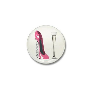 PINK CORKSCREW STILETTO AND CHAMPAGNE FLUTE MINI B