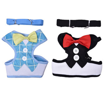 Dog collar Harnesses Lead Leash Strap Belt For Pets Velvet Bowtie Gentleman Suit Boy Tuxedo Easy Walk Harness Vest for Puppy
