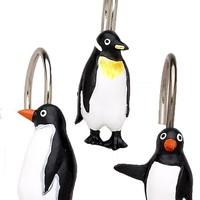 Arctic Penguins Resin Shower Curtain Hooks