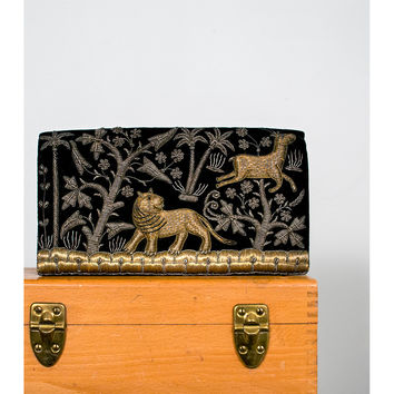 Vintage 40s Evening Bag, 1940s Metallic Embroidered Black Velvet Clutch Purse, Embellished Lion Gazelle Floral Metal Embroidery Cocktail Bag